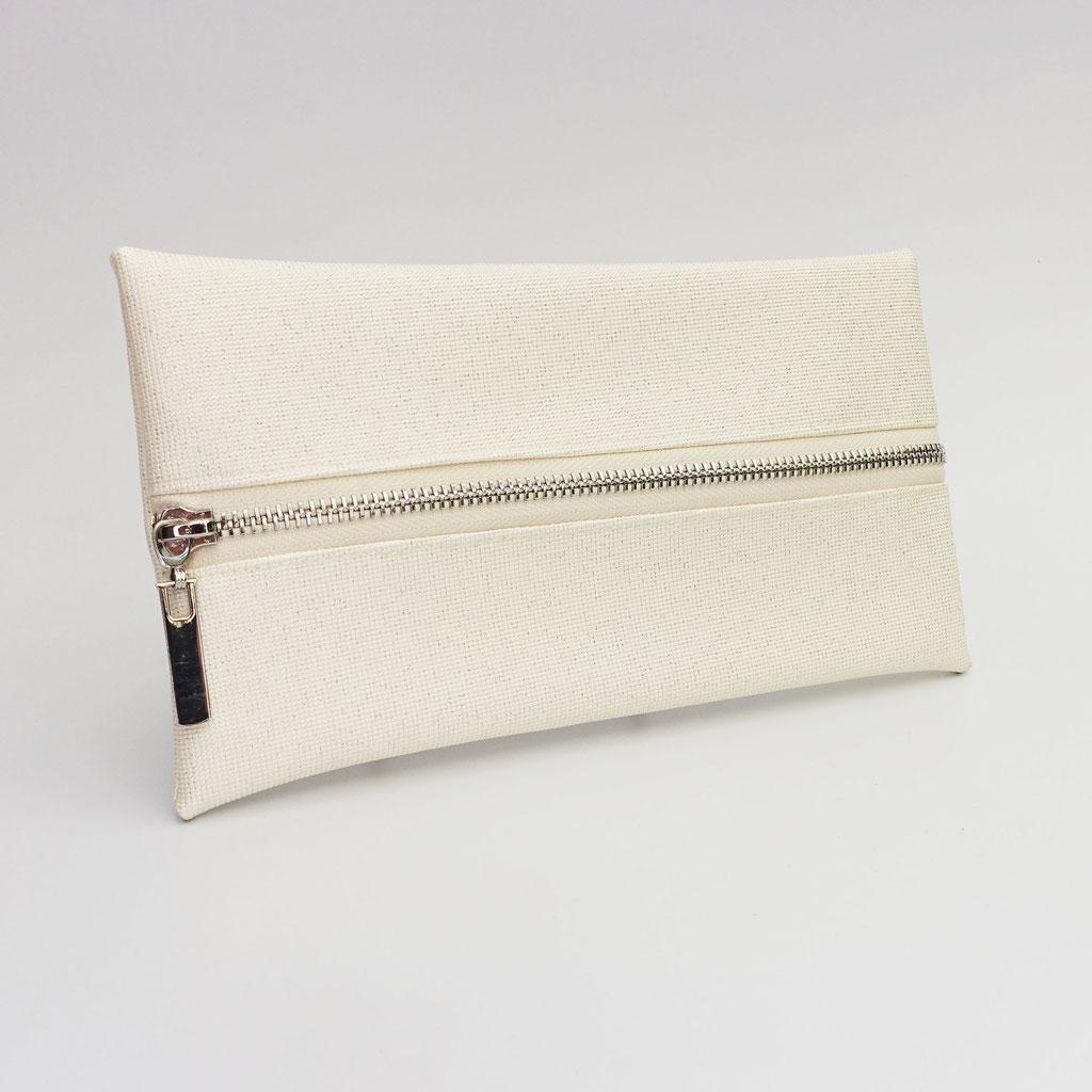 Trousse végane ivoire pailleté, zip métal