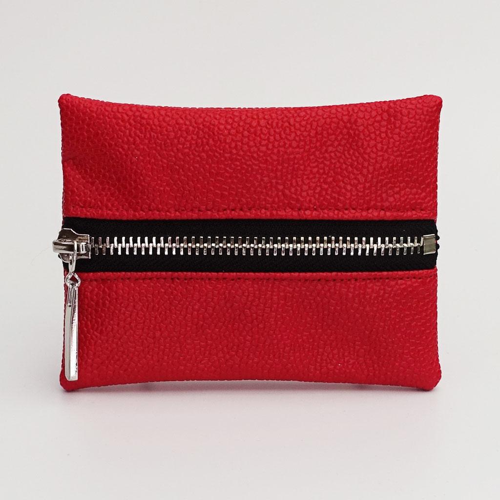 Porte-monnaie végan perlé rouge, zip métal argenté