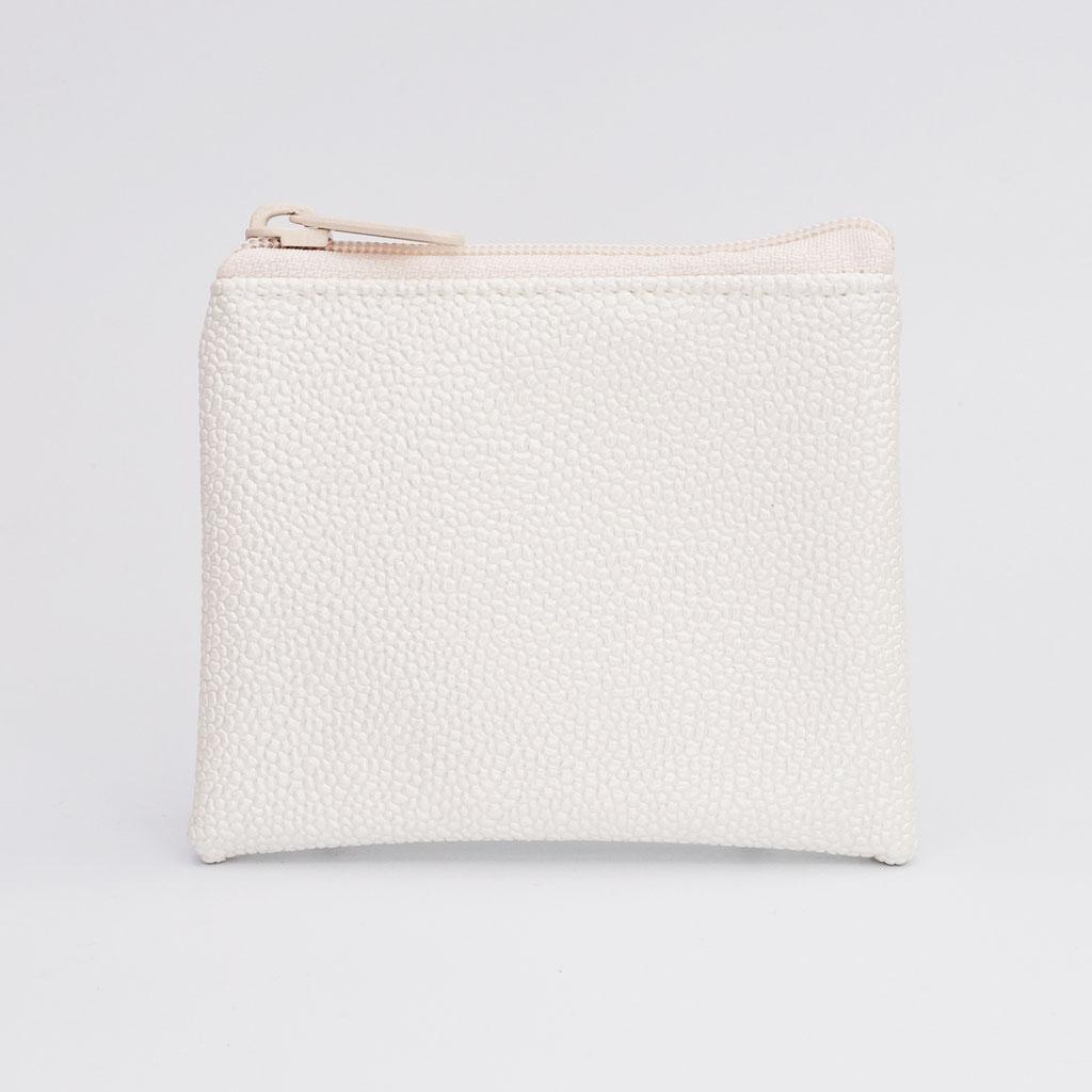Porte-monnaie végan perlé ivoire, gros zip nylon