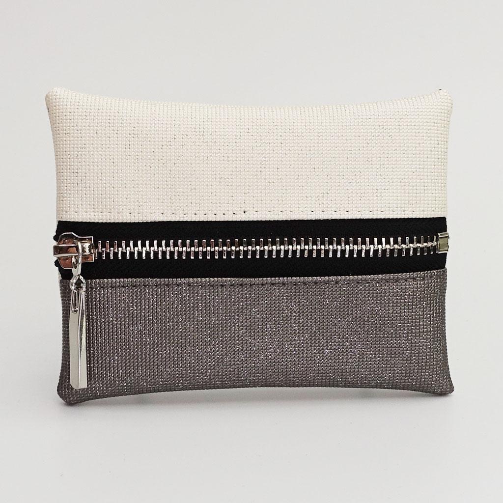 Porte-monnaie pailleté gris clair et ivoire, dos ivoire, zip métal argenté