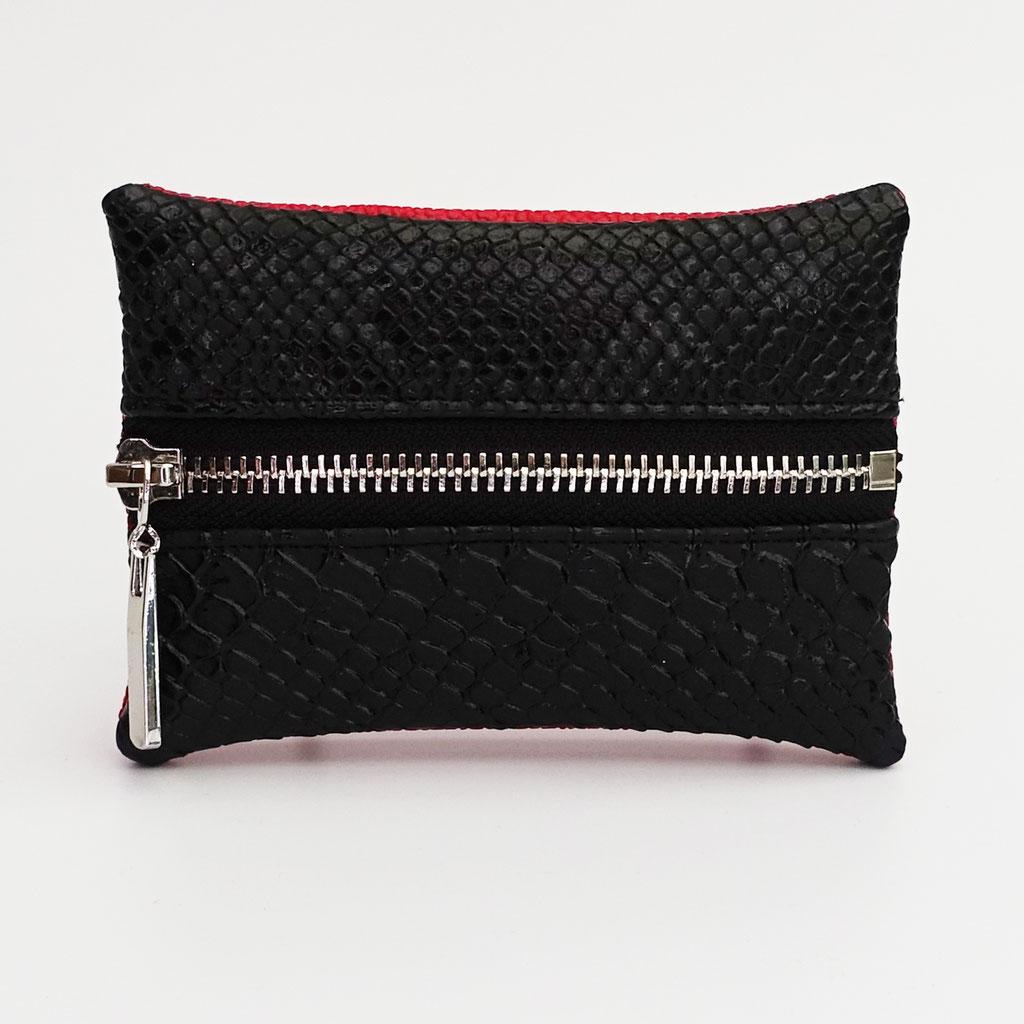 Porte-monnaie dragon noir, dos perlé rouge, zip métal argenté