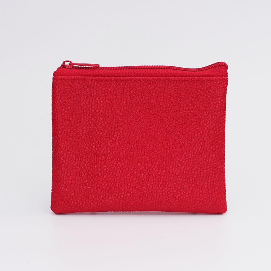 Porte-monnaie végan perlé rouge, zip nylon rouge