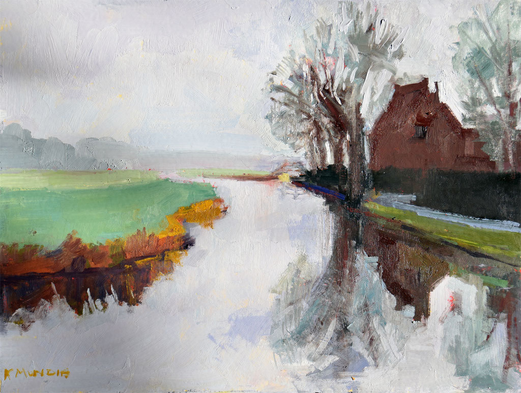 Dutch Canal 11 x 14  inches, oil on panel