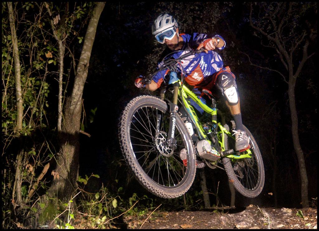 jump with electric mountain bike