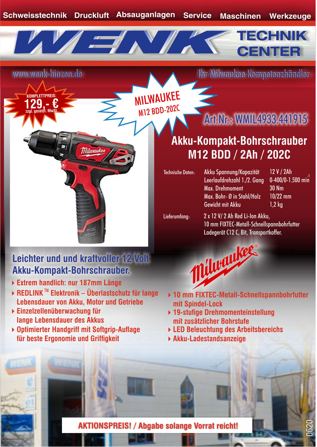 WENK SCHWEISSTECHNIK TOP ANGEBOT, Milwaukee Akku-Kompakt-Bohrschrauber M12 BDD, Aktionspreis 129,- EUR
