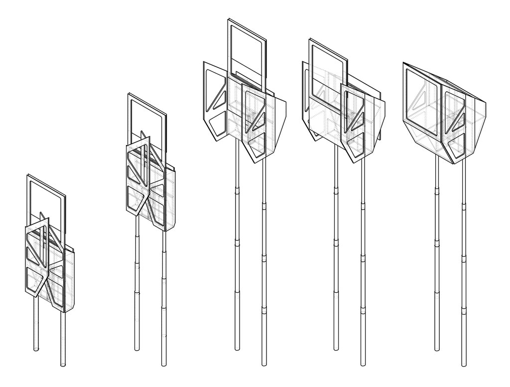 Axonometric drawing. Architecture Concept for a foldable house prototype that is able to disappear between buildings. Architekturprojekt für die Stadt Freistadt.