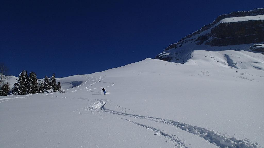 Antoine à la descente, une neige de rêve !