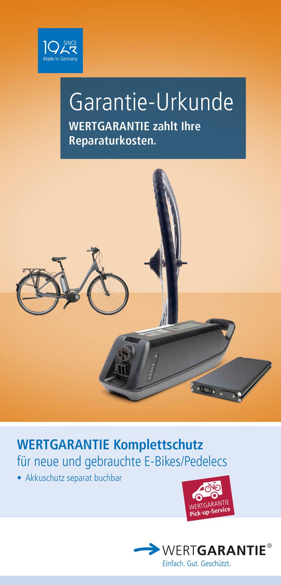 Zu den berechtigten Produkten gehören u.a. der neue, ausgezeichnete Komplettschutz E-Bikes/Pedelecs 2021 und der neue Reparaturkostenschutz Fahrrad 2021 mit optionalem Diebstahlschutz. Foto: Wertgarantie