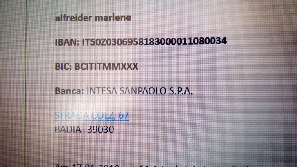 Dati x Caparra - Bankdaten für Angeld