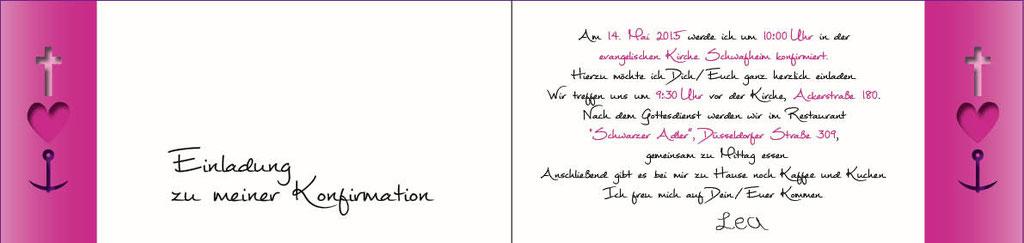 """Konfirmationseinladung Thema """"Glaube, Liebe Hoffnung"""" hinten"""