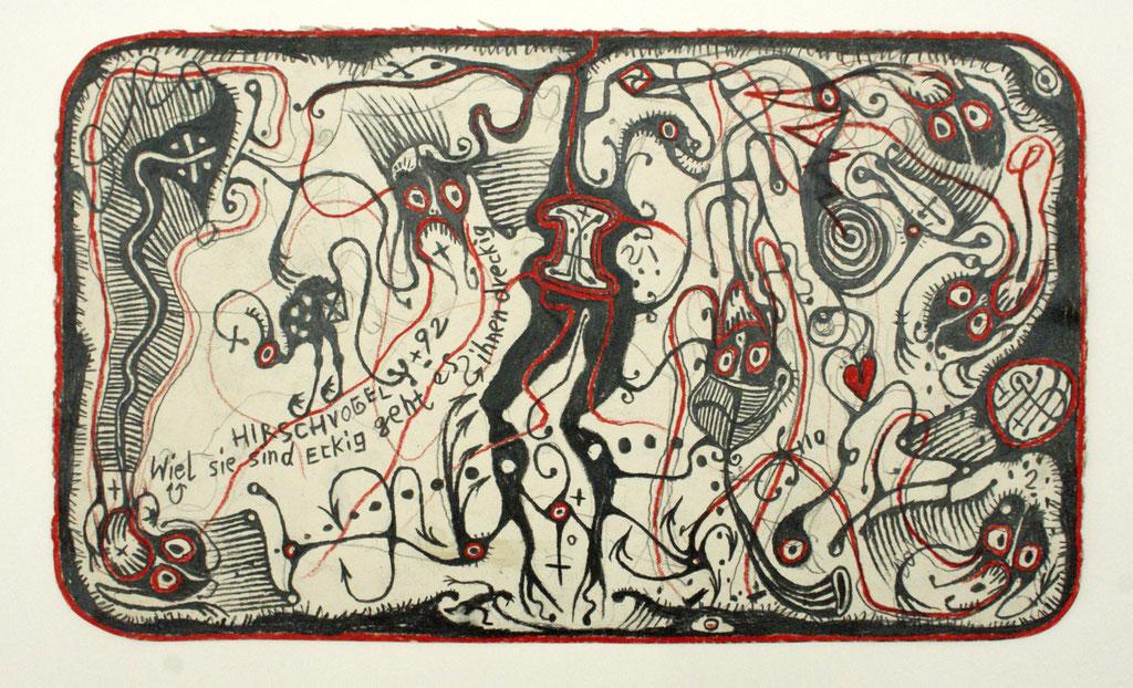 <b>o.T., 1992, </b><br>Zeichnung, Bleistift und Buntstift auf Papier, <br>22,5 x 38 cm