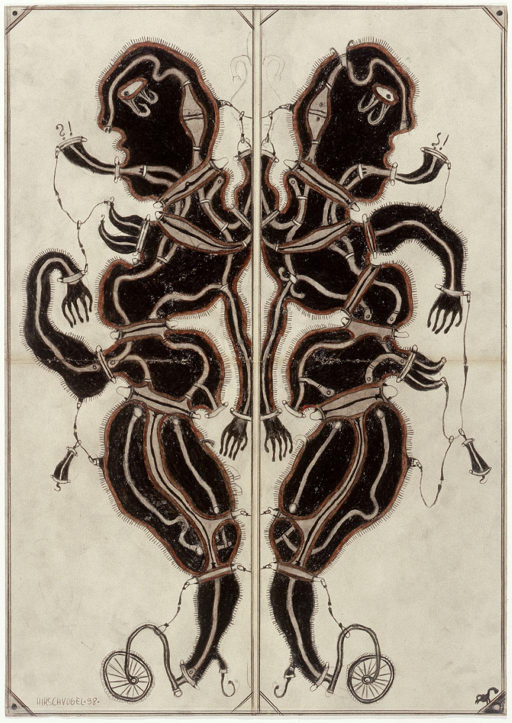<b>o.T., 1998, </b><br>Zeichnung, Bleistift und Buntstift auf Papier, <br>59 x 42 cm
