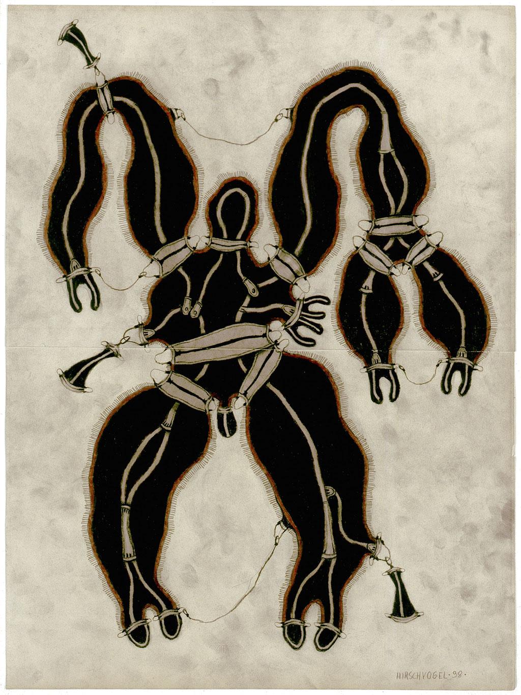 <b>o.T., 1998, </b><br>Zeichnung, Bleistift und Buntstift auf Papier, <br>57,5 x 43 cm