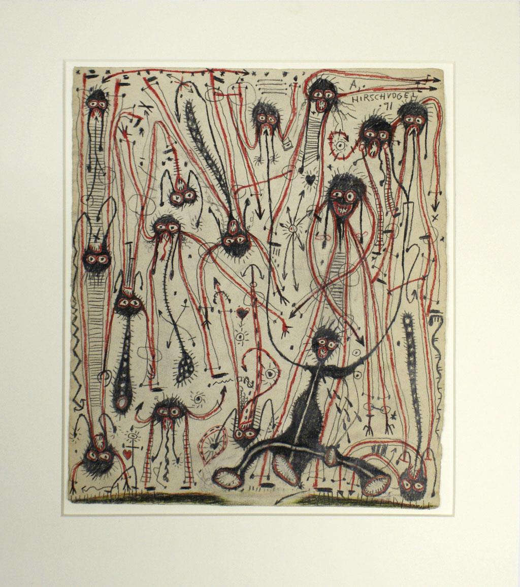 <b>o.T., 1991, </b><br>Zeichnung, Bleistift und Buntstift auf Papier, <br>43 x 36 cm