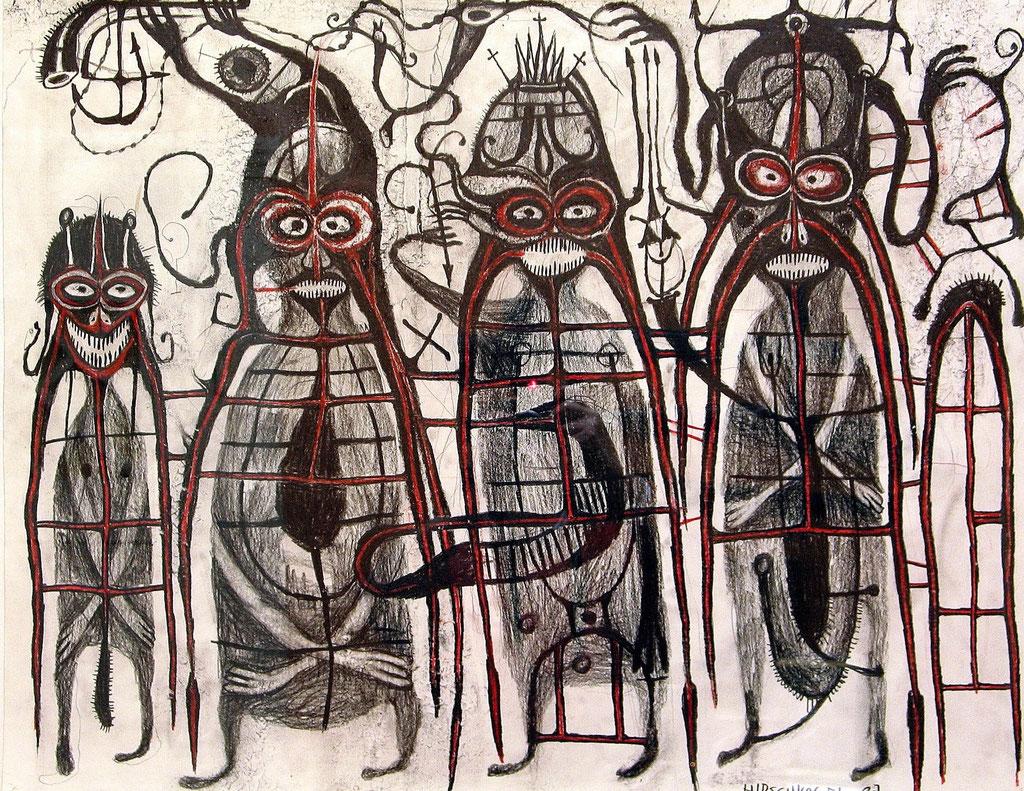<b>o.T., 1993, </b><br>Zeichnung, Bleistift und Buntstift auf Papier, <br>63 x 80 cm