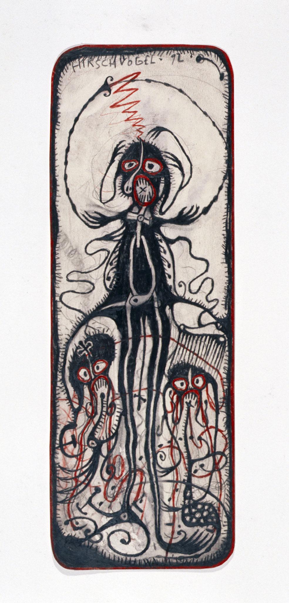 <b>o.T., 1992,</b><br> Zeichnung, Bleistift und Buntstift auf Papier, <br>40 x 15 cm