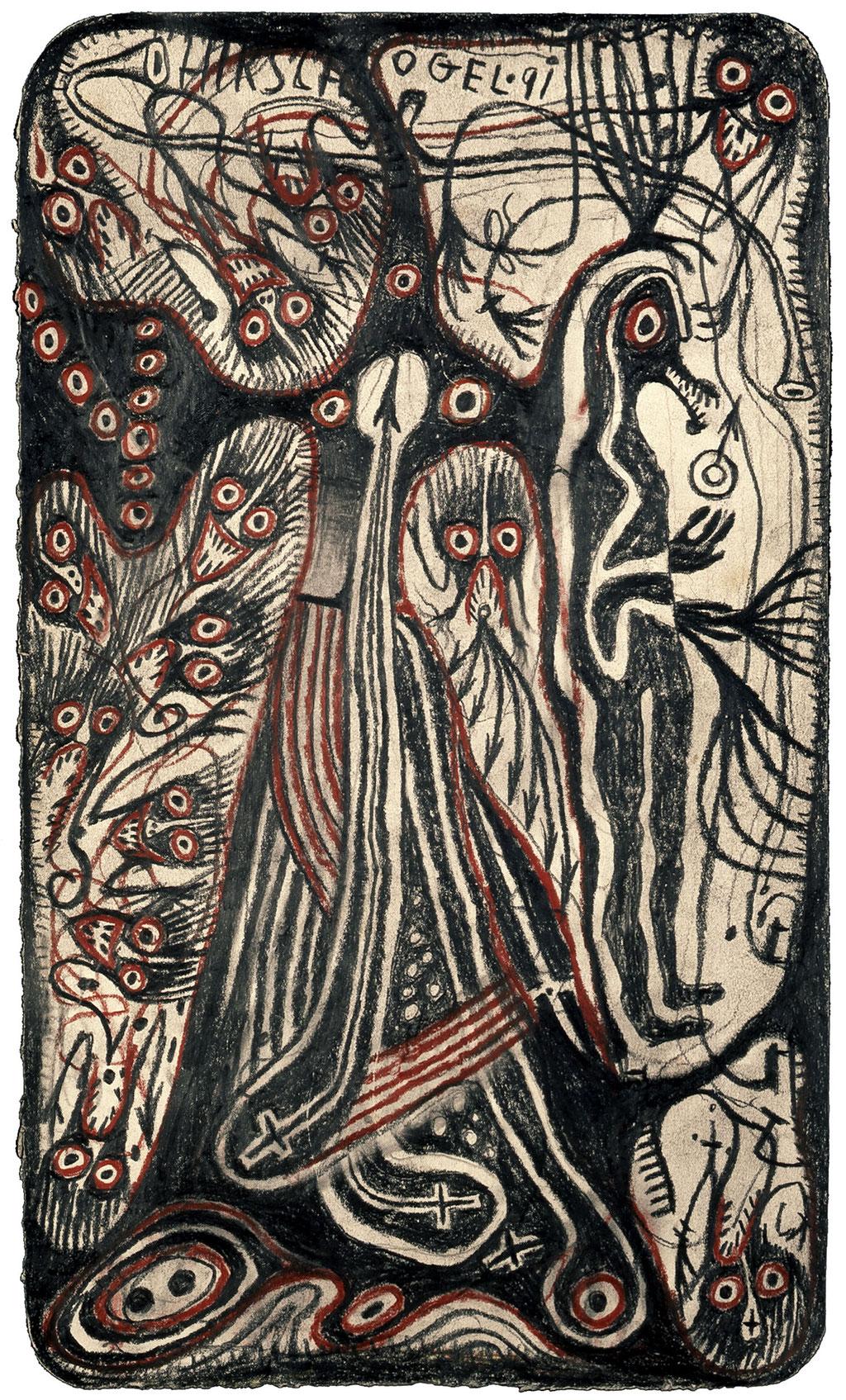 <b>o.T., 1991, </b><br>Zeichnung, Bleistift und Buntstift auf Papier, <br>38 x 22 cm