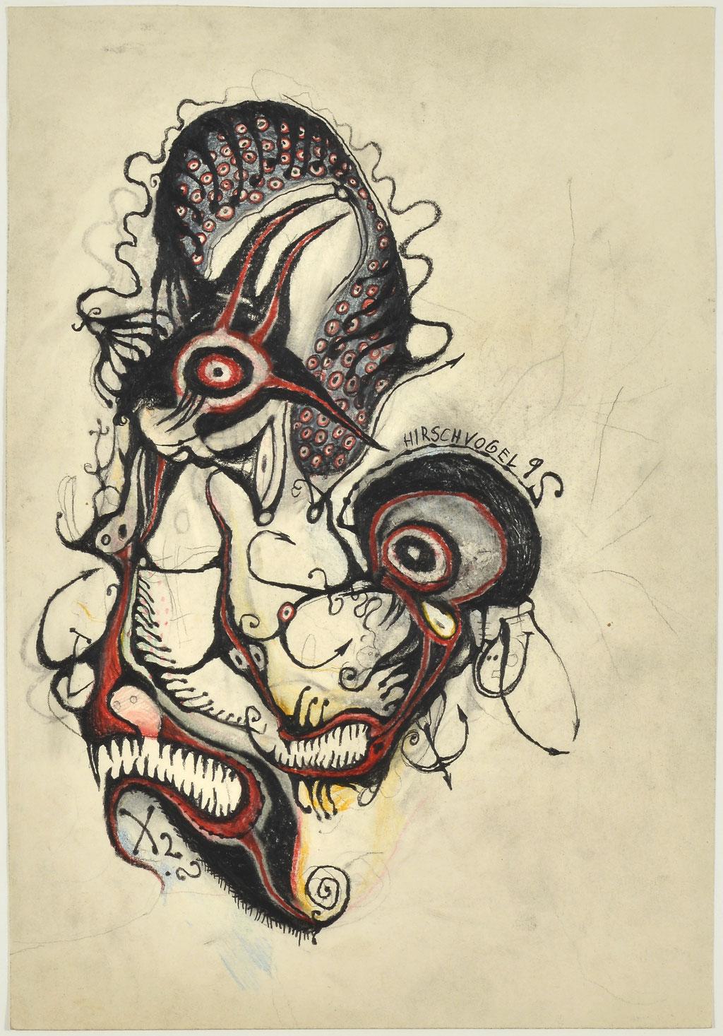 <b>o.T., 1992, </b><br>Zeichnung, Bleistift und Buntstift auf Papier, <br>48 x 33,5 cm