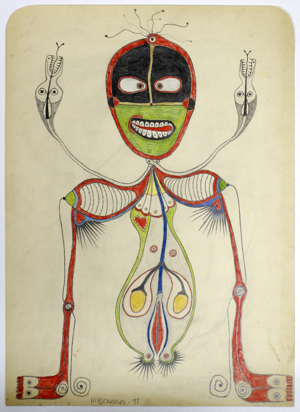 <b>o.T., 1991, </b><br>Zeichnung, Bleistift und Buntstift auf Papier, <br>60,5 x 43,5 cm