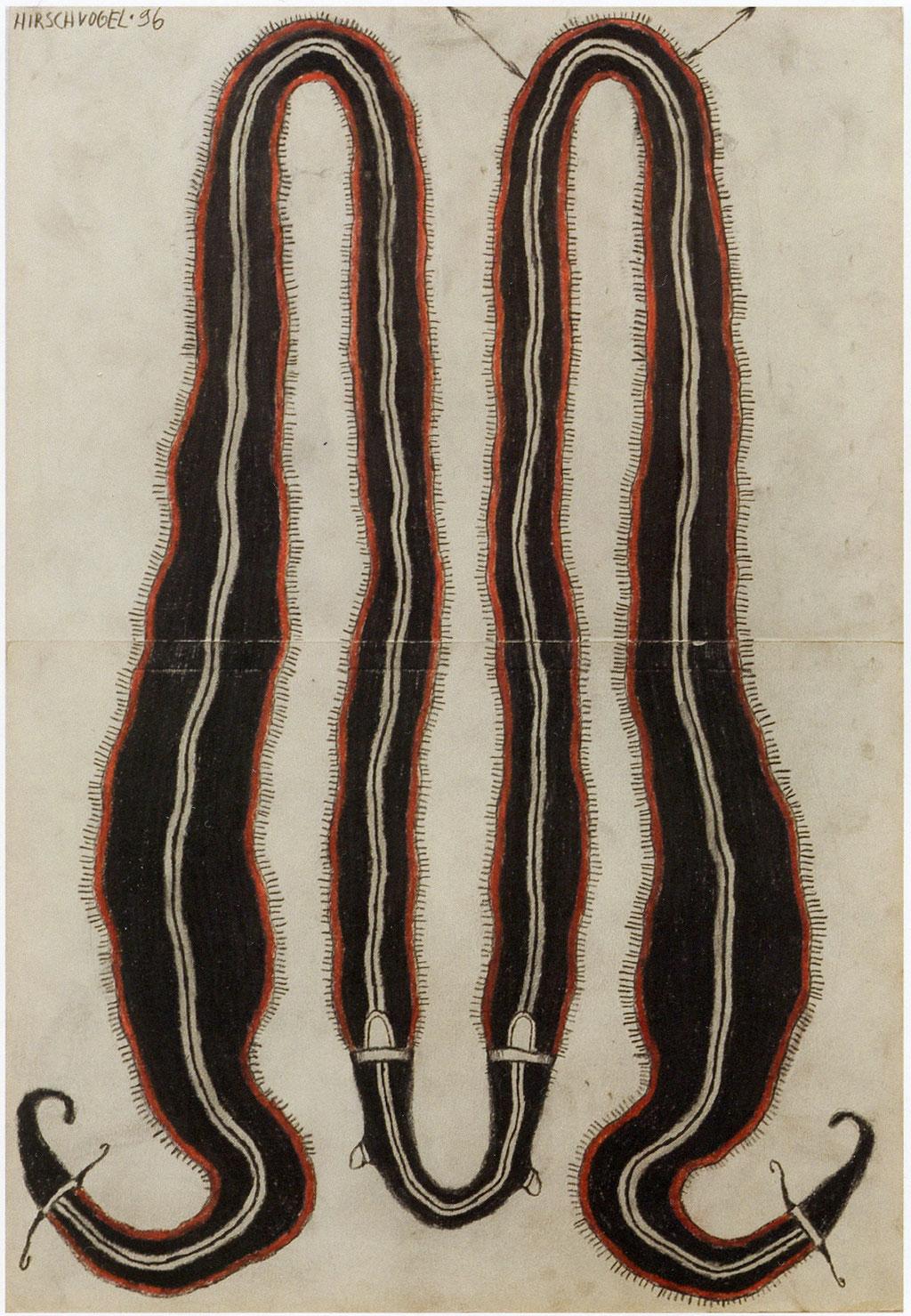 <b>o.T., 1996, </b><br>Zeichnung, Bleistift und Buntstift auf Papier, <br>72 x 38 cm