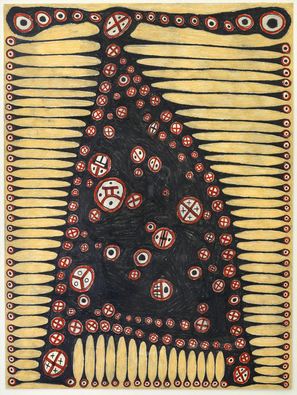 <b>o.T., 1991, </b><br>Zeichnung, Bleistift und Buntstift auf Papier, <br>53 x 39,5 cm