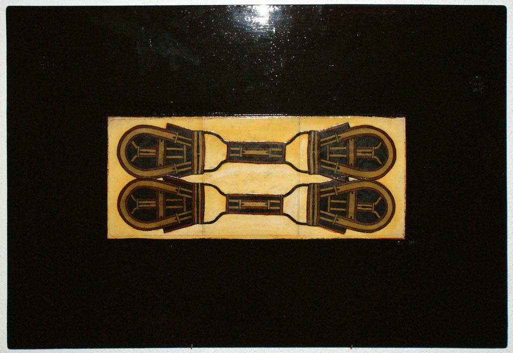<b>o.T. (Nr.19), 2001, </b><br>Mischtechnik auf Hartfaser, <br>59 x 84 cm