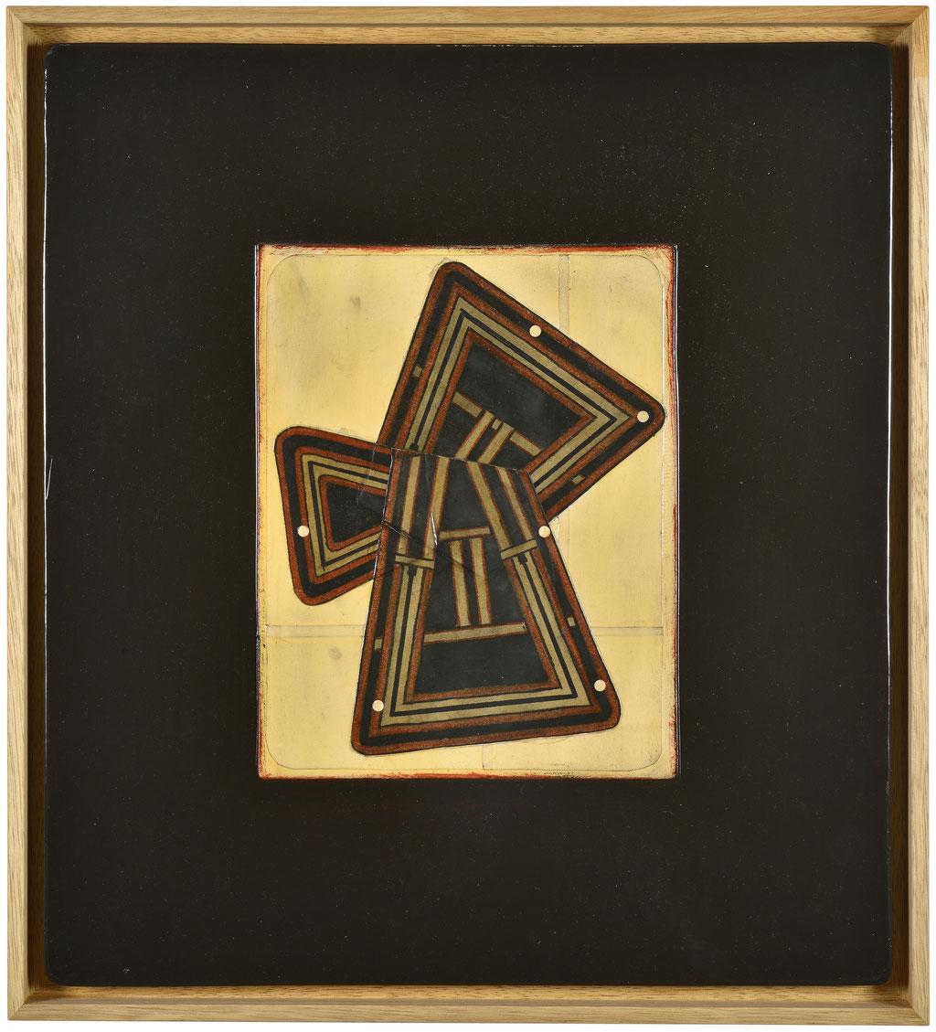 <b>o.T.(Nr.27), 2001, </b><br>Mischtechnik auf Hartfaser, <br>50 x 45 cm