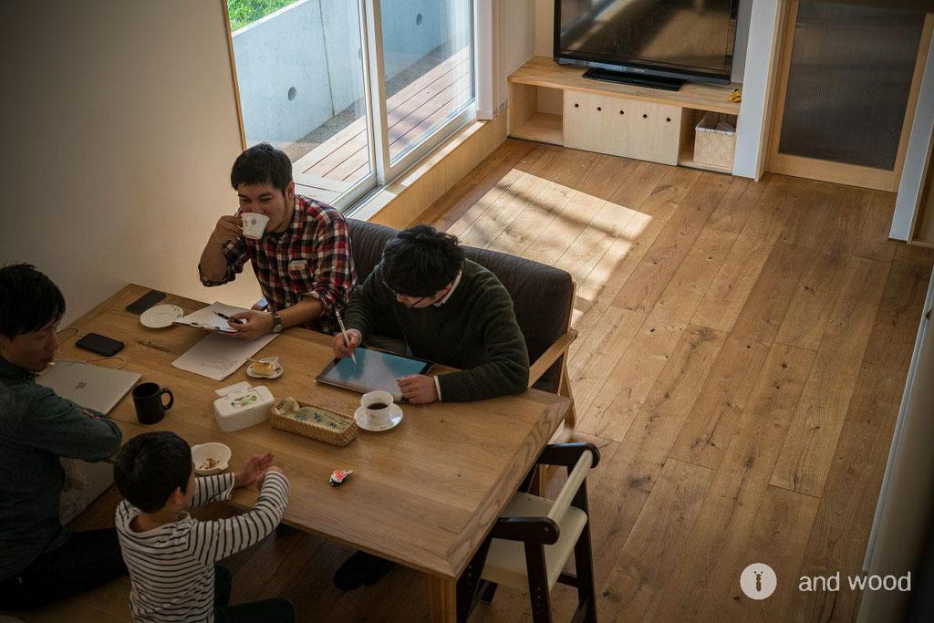 オーク 染色 塗装 フローリング 加藤淳一級建築士事務所 andwood アンドウッド 2