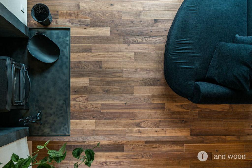 ウォールナット 無垢フローリング 施工例 アンドウッド andwood 床暖房