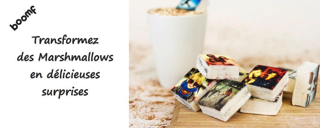 Personnalisation de marshmallows : délicieuses guimauves imprimées avec vos images. La surprise est au rendez-vous