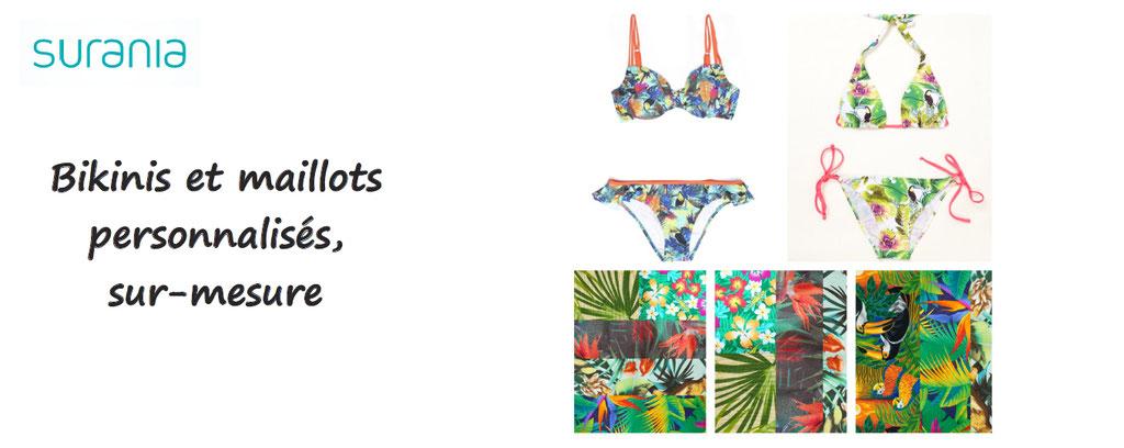 bikinis maillots personnalises sur mesure surania, personnalisation maillot de bain homme femme enfant