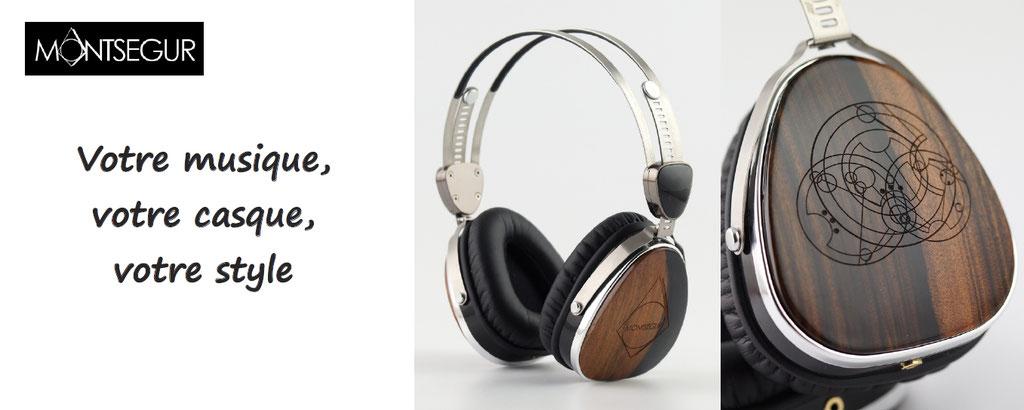 Personnalisation de casques audios : définissez le graphisme qui sera gravé sur les coques en ébènes, personnalisez l'arceau et votre casque sera unique