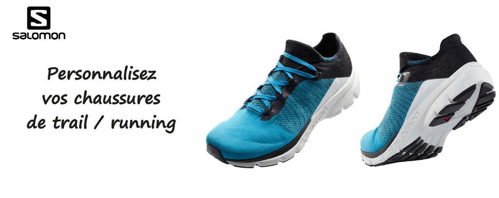 chaussures de trail, running à personnaliser, salomon. Personnalisation de chaussures de sport