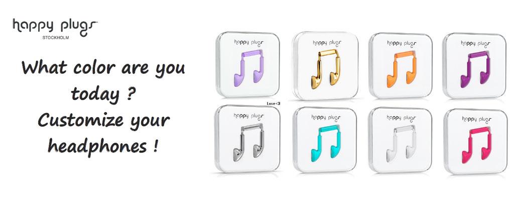 Happy plugs headphones customized customisation, choose your color
