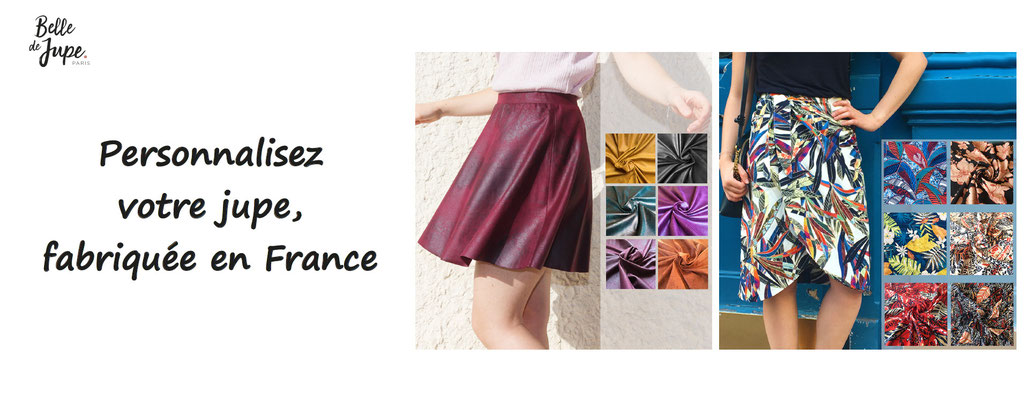 personnalisez votre jupe fabriquée en france, à la main. Personnalisation de jupes. Belle de jupe paris