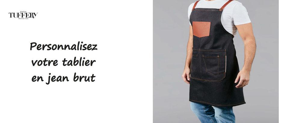 tablier en jean brut à personnaliser, made in France, atelier tuffery - tablier personnalisable