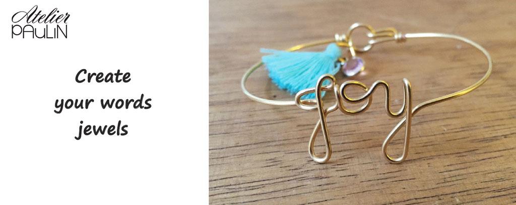 Atelier Paulin, create your word jewel. Jewel customization, words jewels personalized