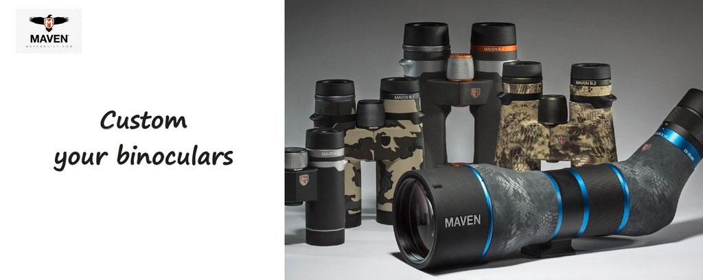 custom your binoculars - spotting scope, rifle scopes to customize, Maven optics. Customization of binoculars and spotting scopes