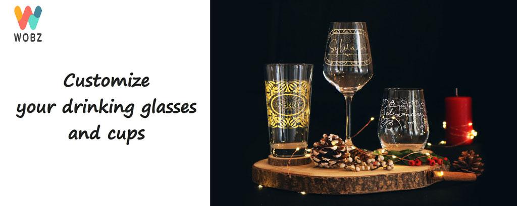 customization of drinking glasses and mugs , wobz personalized drinking glass