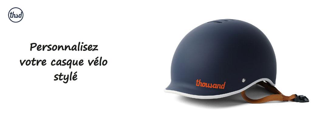casque velo vintage, stylé, thousand à personnaliser. Personnalisation casque pour vélo