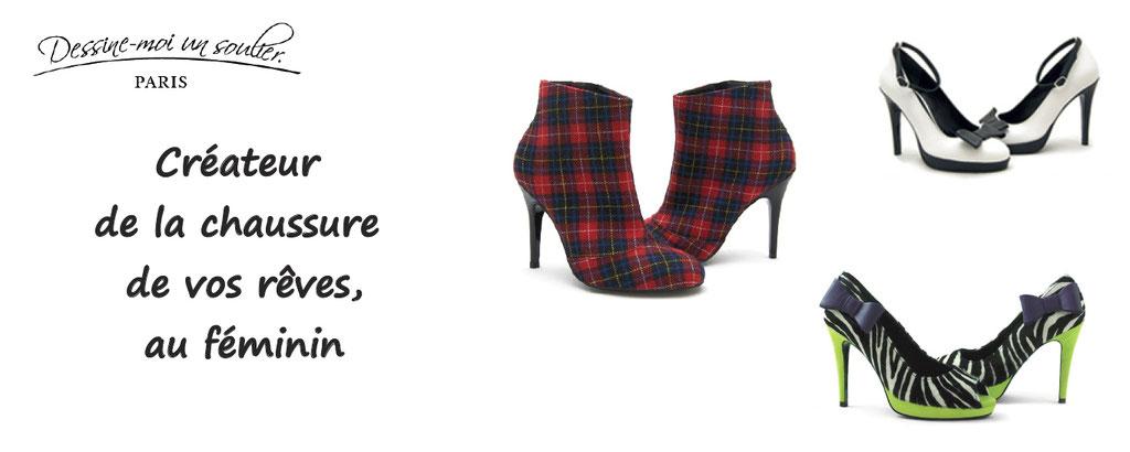 Personnalisation de chaussures au féminin, fabriquées en France : escarpins, richelieus, ballerine, ... des milliers de possibilités