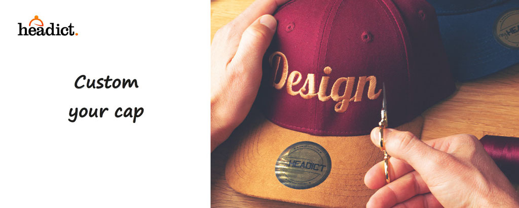 custom your cap,  with embroidery, made in France ; customisation by Headict