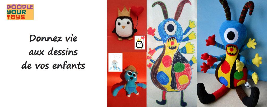 doodle your toys, donnez vie aux dessins de vos enfants, peluches personnalisables, nounours personnalisés