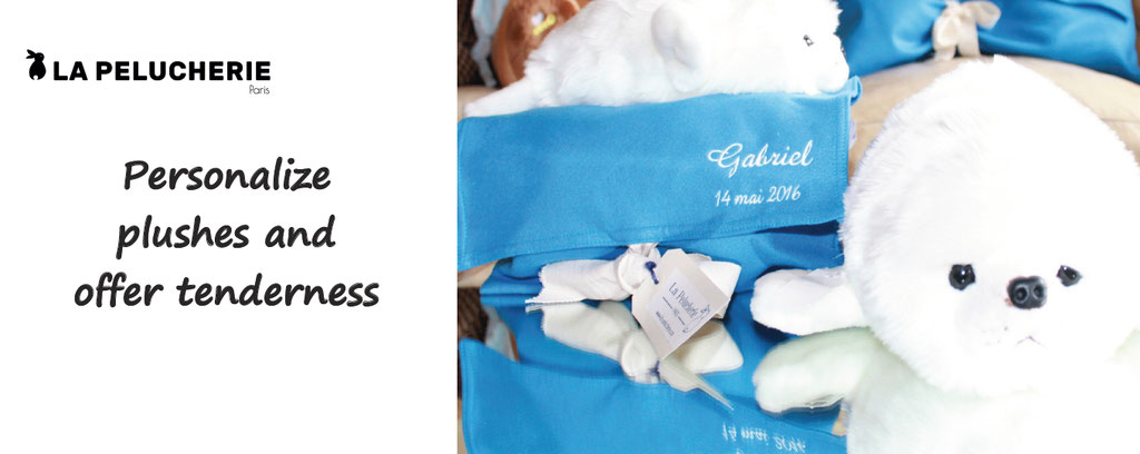 personalize plushes, offer tenderness, la pelucherie, customized plushes