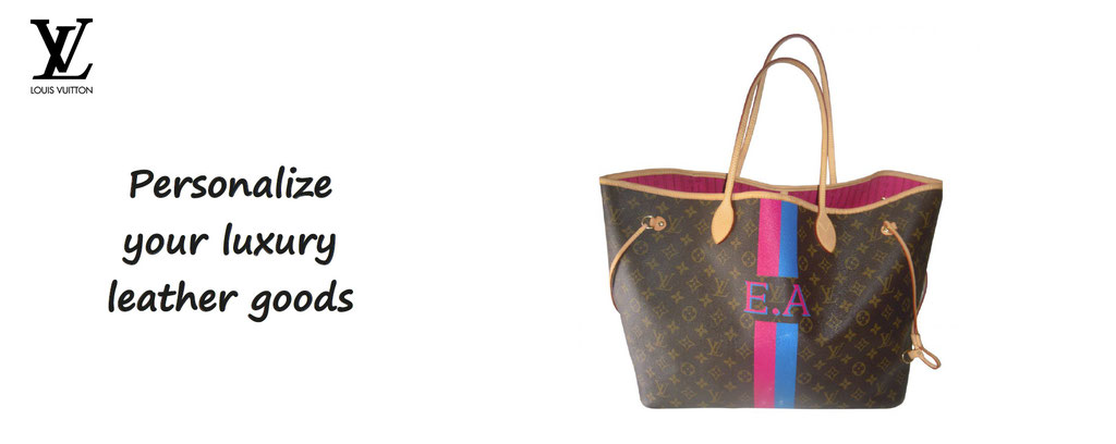 Leather goods customization Louis Vuitton - Personalized luggage LVMH leather.