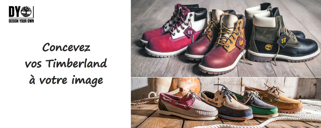 chaussures timberland personnalisables : DYO 6 inch premium boot, DYO 3 eye classic lug, DYO 2 eye boat, euro hiker, personnalisation de boots et chaussures