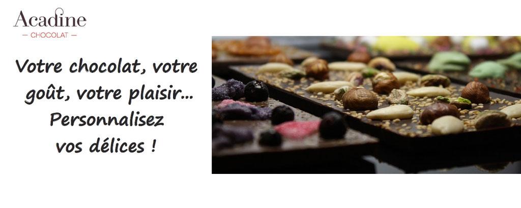 Acadine chocolat : personnalisation de tablettes de chocolat, personnalisation de sucettes en chocolat, personnalisation de mendiants en chocolat