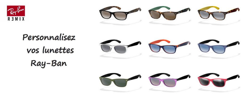 Personnalisation lunettes de soleil Ray Ban : des milliers de configurations : couleurs, verres, marquage, créez votre modèle : Aviator, Clubmaster, Round metal, Wayfarer, Caravan