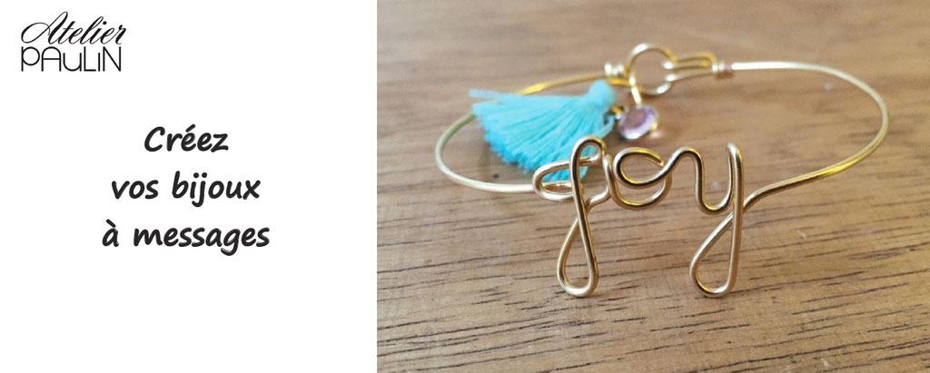 Atelier Paulin, personnalisez votre bijou à messages, à mots. Personnalisation de bijoux à messages