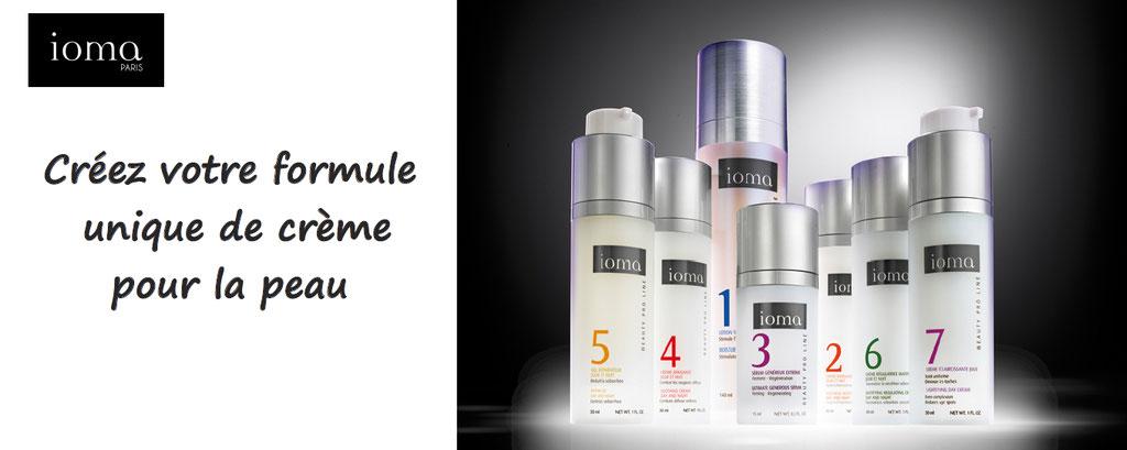 personnalisation de cremes pour la peau Ioma, formulation unique